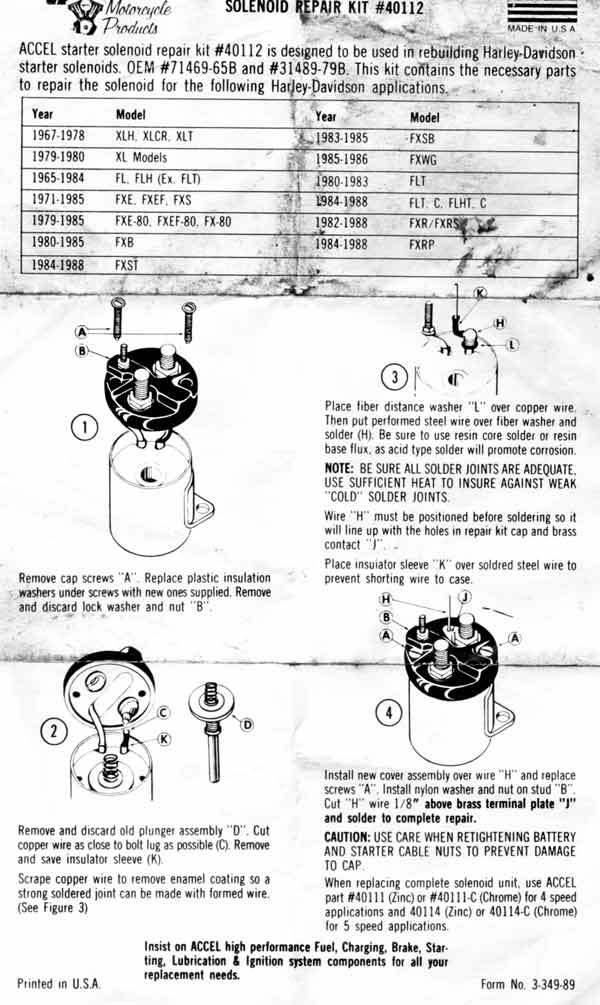 Accel Solenoid Repair Kit on Shovelhead Oil Diagram
